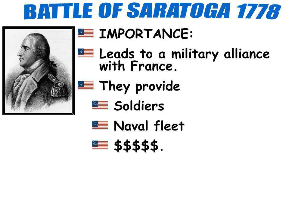 BATTLE OF SARATOGA 1778 IMPORTANCE: