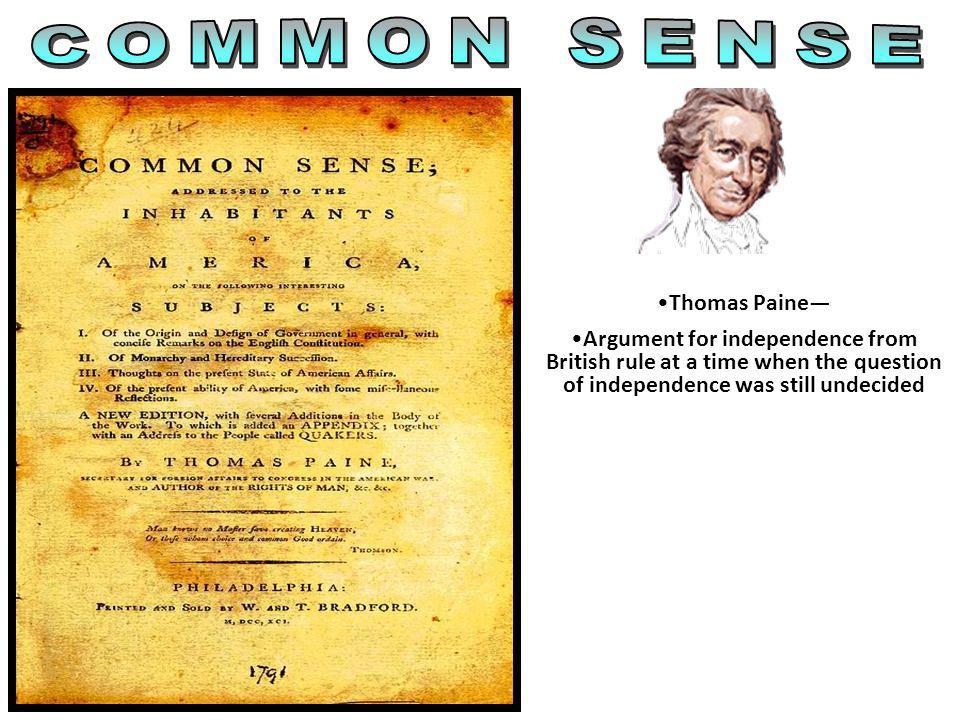 COMMON SENSE Thomas Paine—