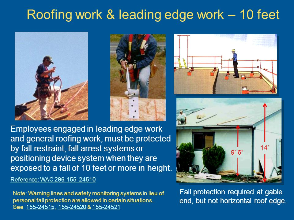 Roofing work & leading edge work – 10 feet