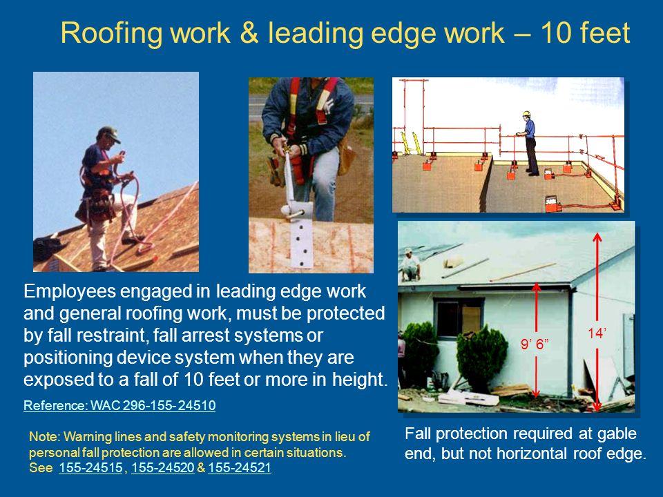 Roofing work & leading edge work – 10 feet