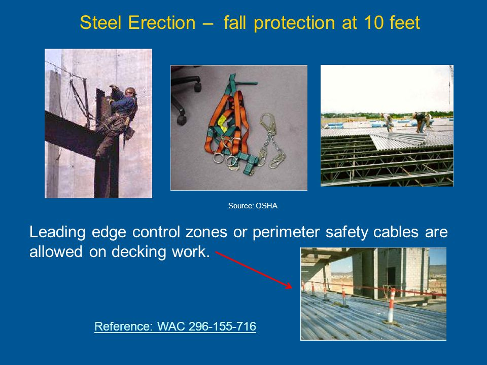Steel Erection – fall protection at 10 feet