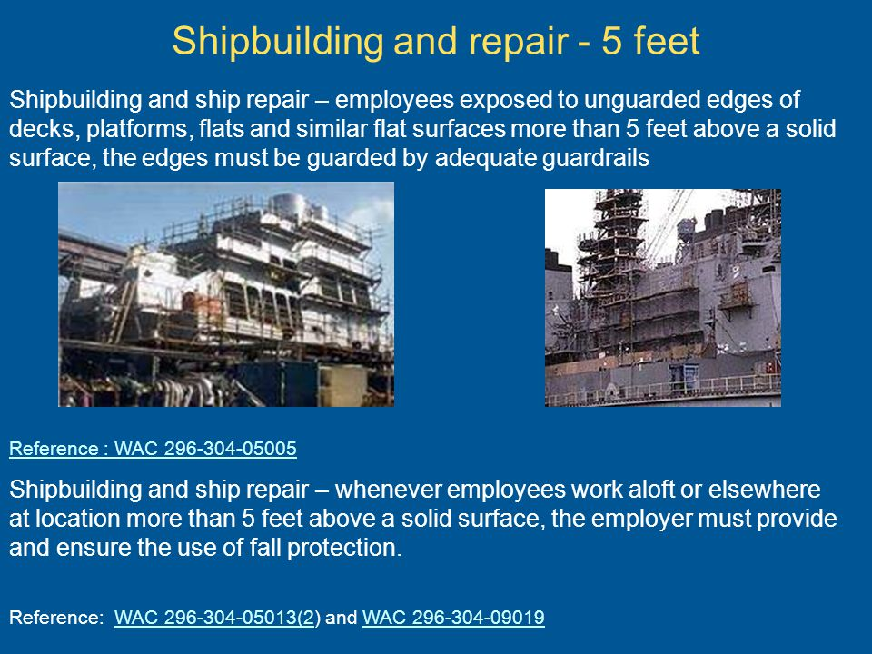 Shipbuilding and repair - 5 feet