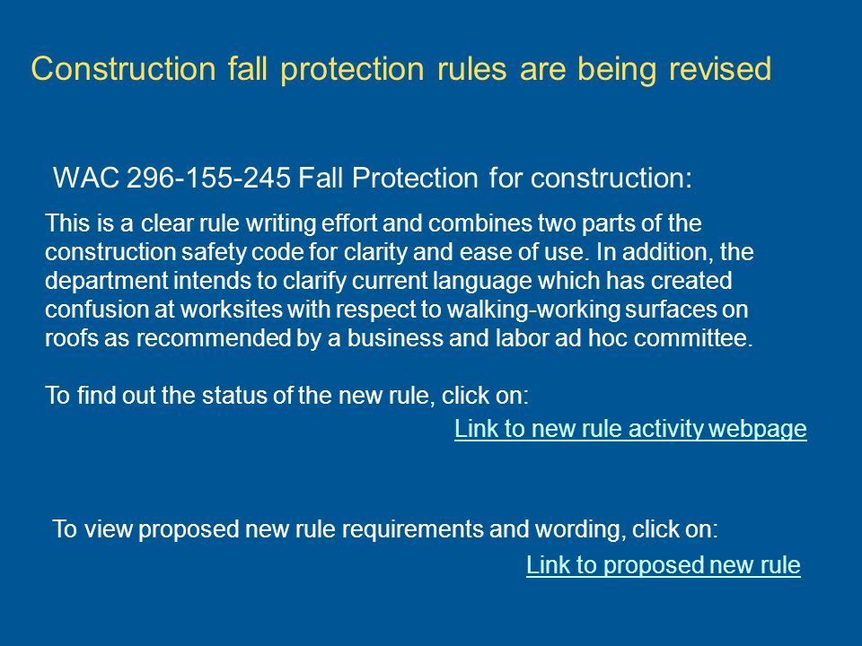 Construction fall protection rules are being revised