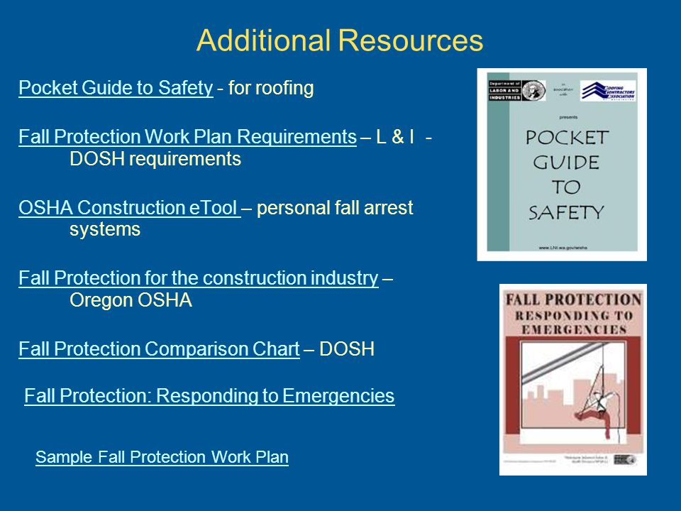 Additional Resources Pocket Guide to Safety - for roofing