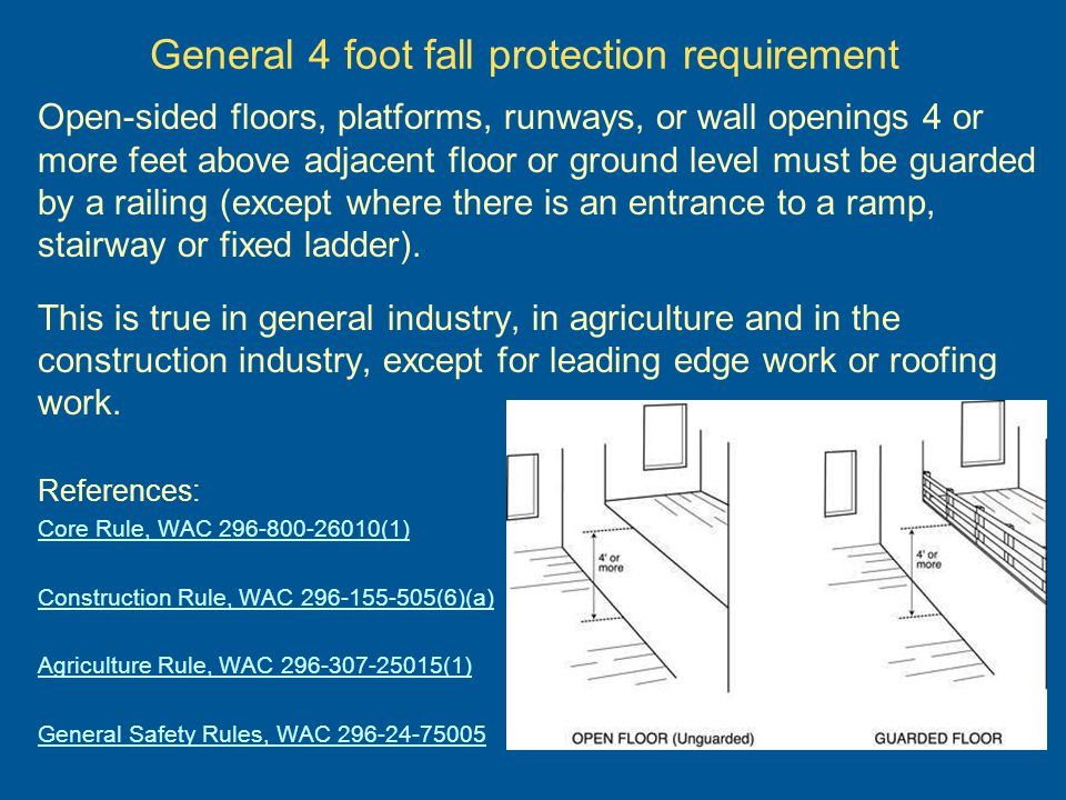 General 4 foot fall protection requirement