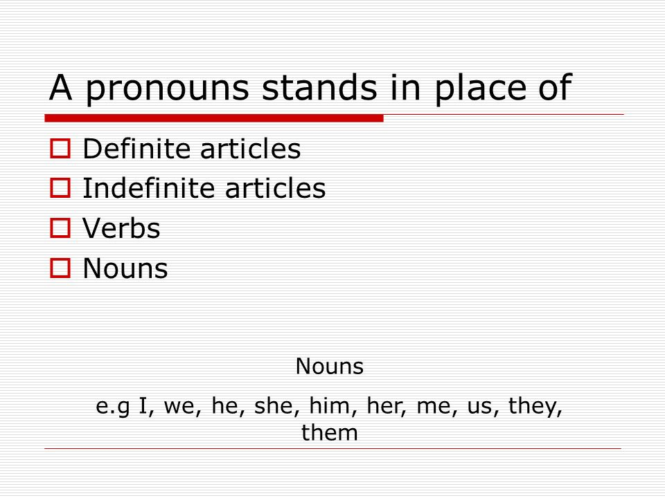 A pronouns stands in place of