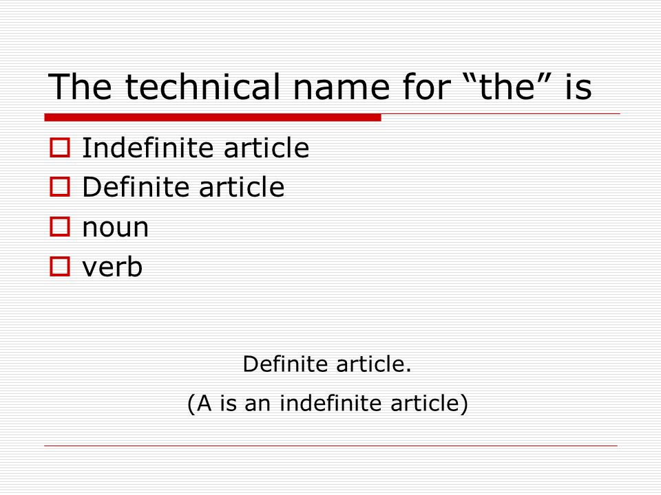 The technical name for the is