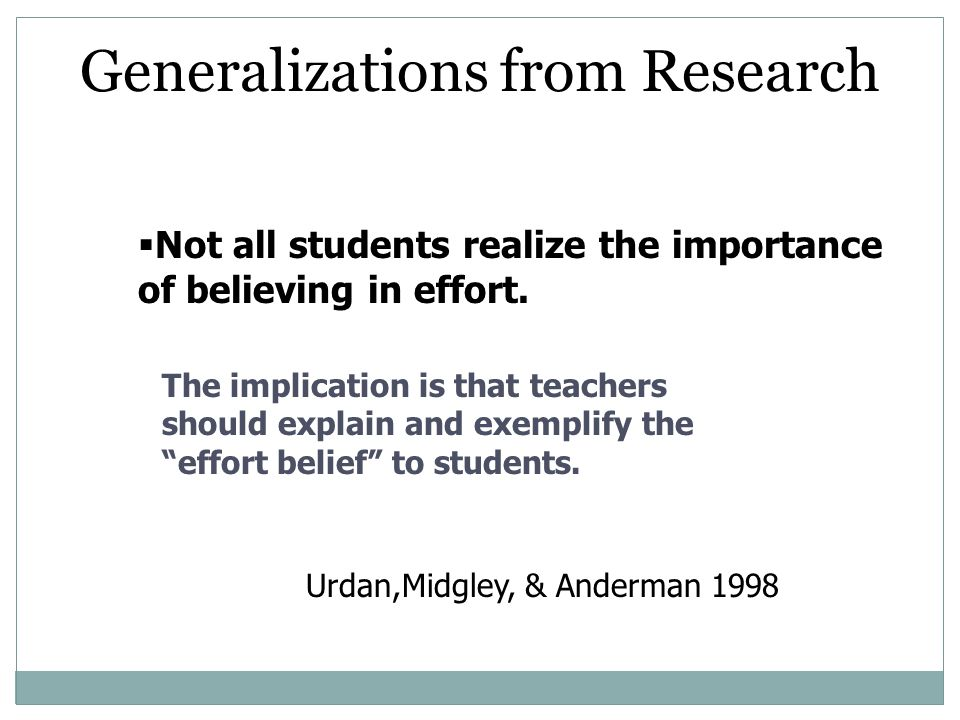Generalizations from Research