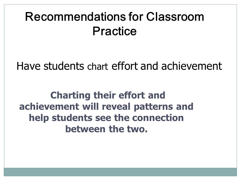 Recommendations for Classroom Practice