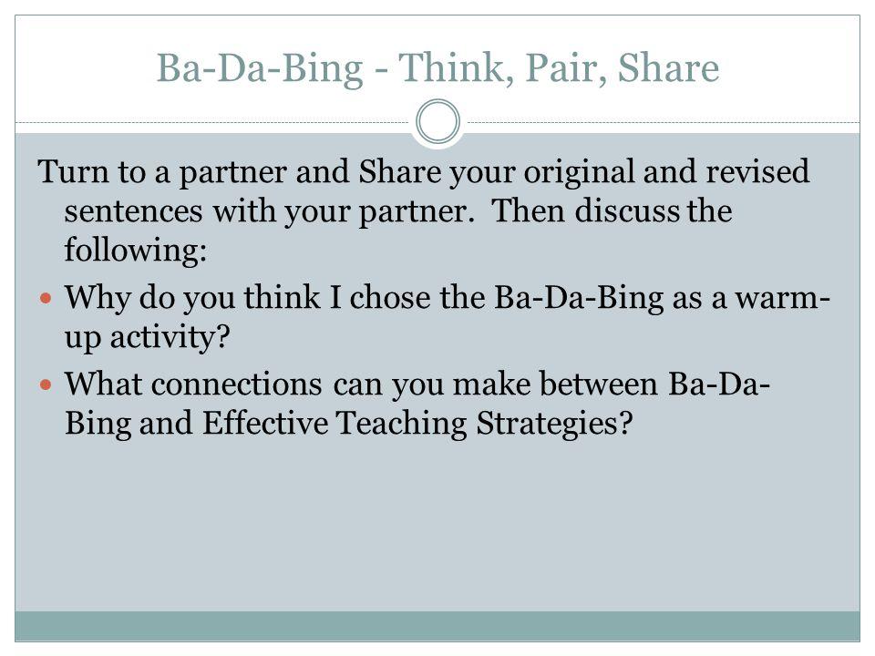 Ba-Da-Bing - Think, Pair, Share