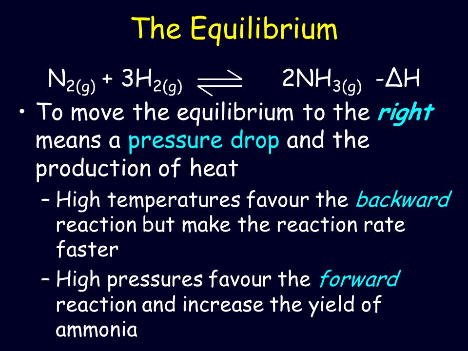 The Equilibrium N2(g) + 3H2(g) 2NH3(g) -ΔH