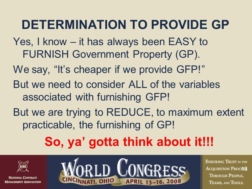 DETERMINATION TO PROVIDE GP