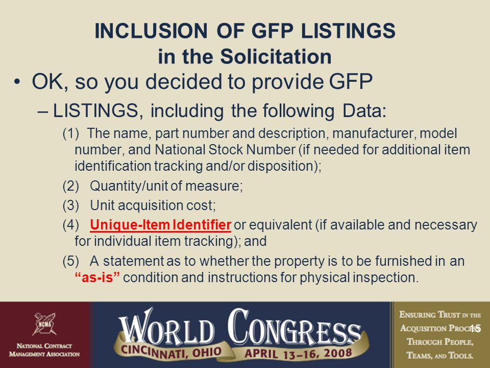 INCLUSION OF GFP LISTINGS in the Solicitation