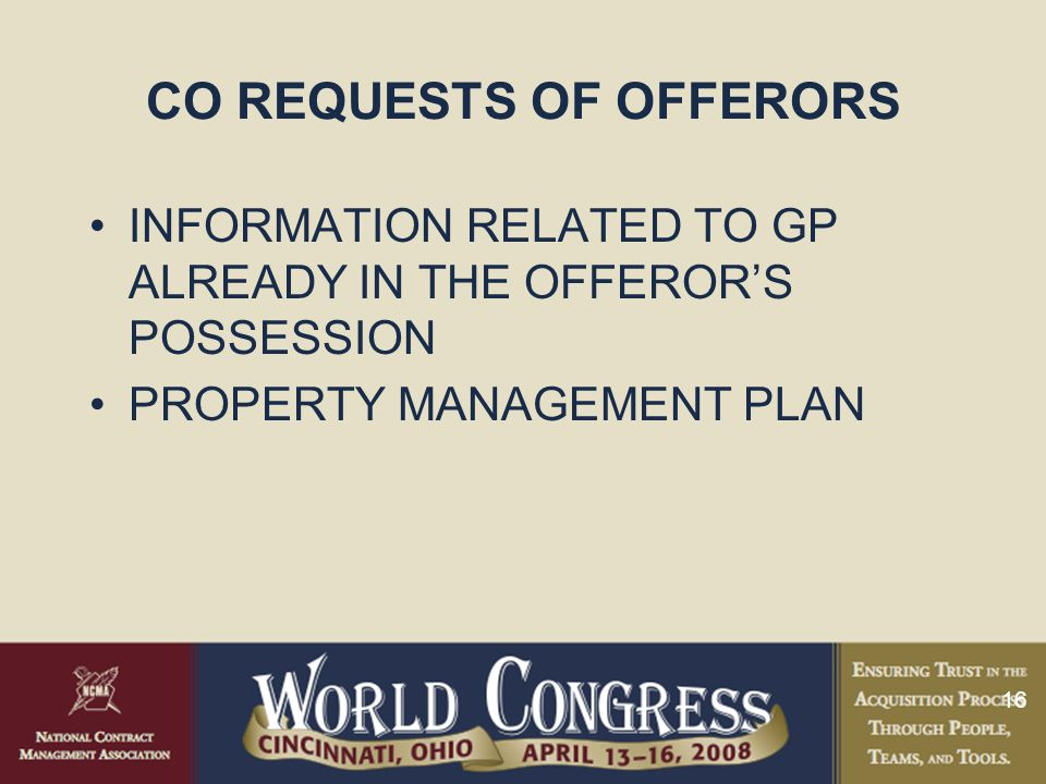 CO REQUESTS OF OFFERORS