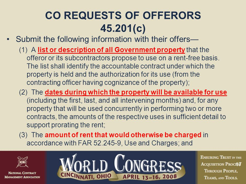 CO REQUESTS OF OFFERORS 45.201(c)