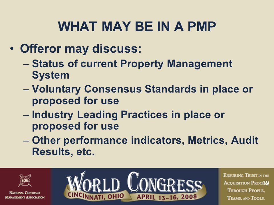 WHAT MAY BE IN A PMP Offeror may discuss: