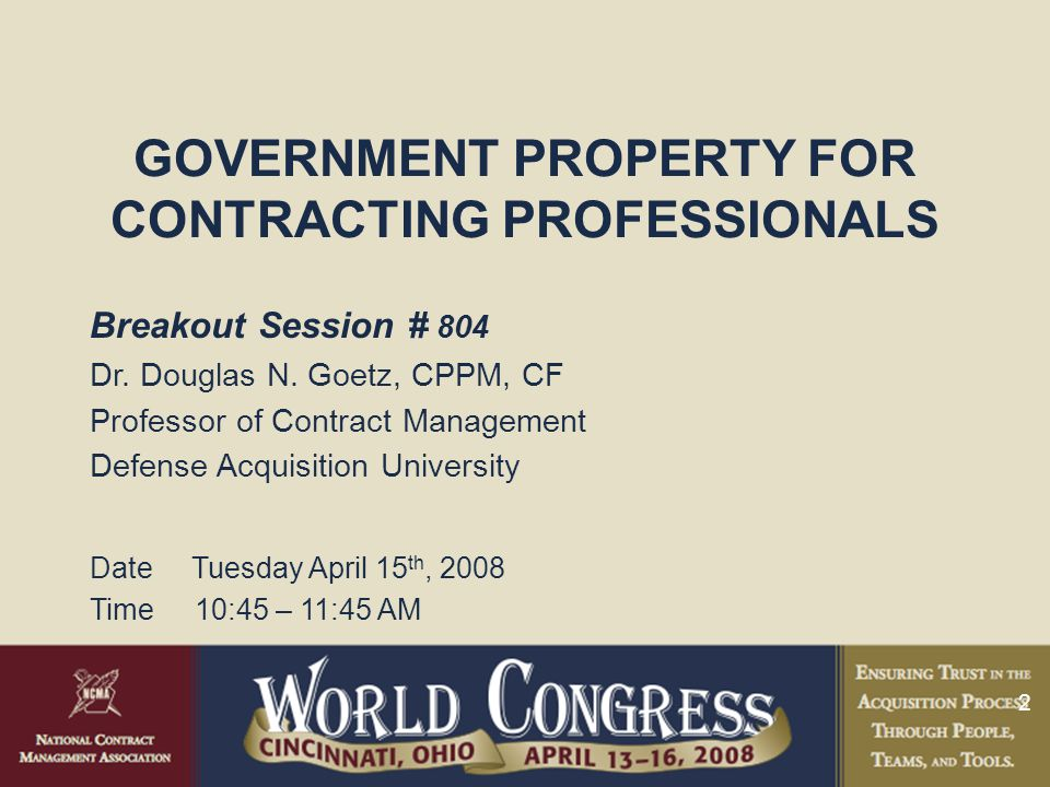 GOVERNMENT PROPERTY FOR CONTRACTING PROFESSIONALS