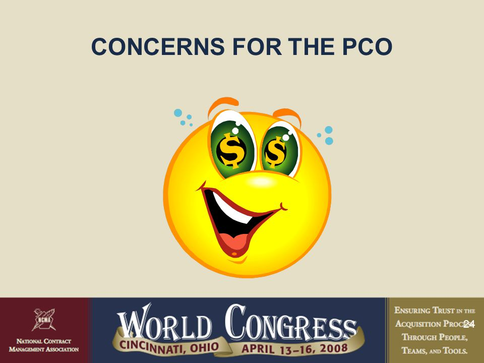 CONCERNS FOR THE PCO