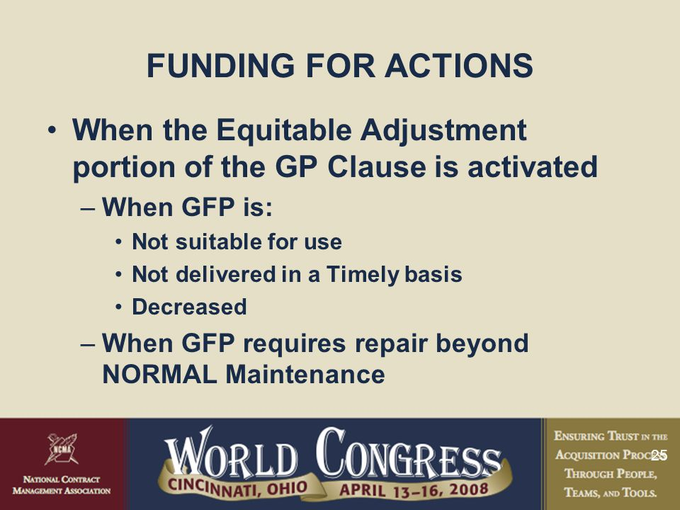 FUNDING FOR ACTIONS When the Equitable Adjustment portion of the GP Clause is activated. When GFP is: