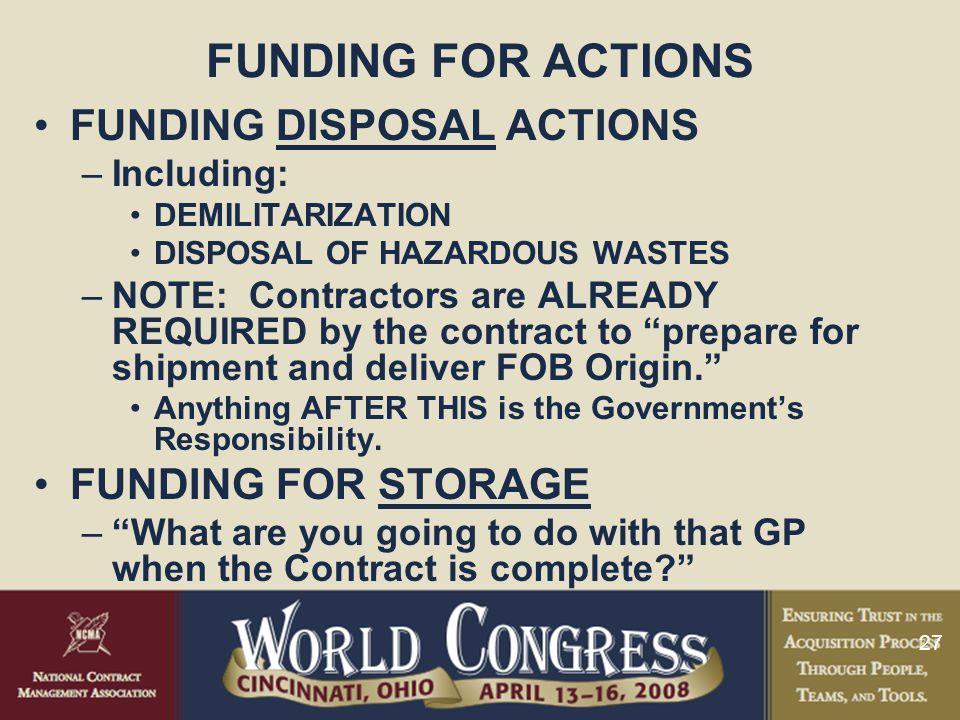 FUNDING FOR ACTIONS FUNDING DISPOSAL ACTIONS FUNDING FOR STORAGE