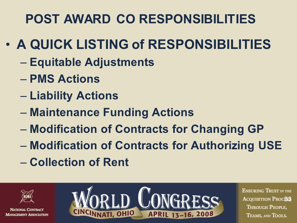 POST AWARD CO RESPONSIBILITIES