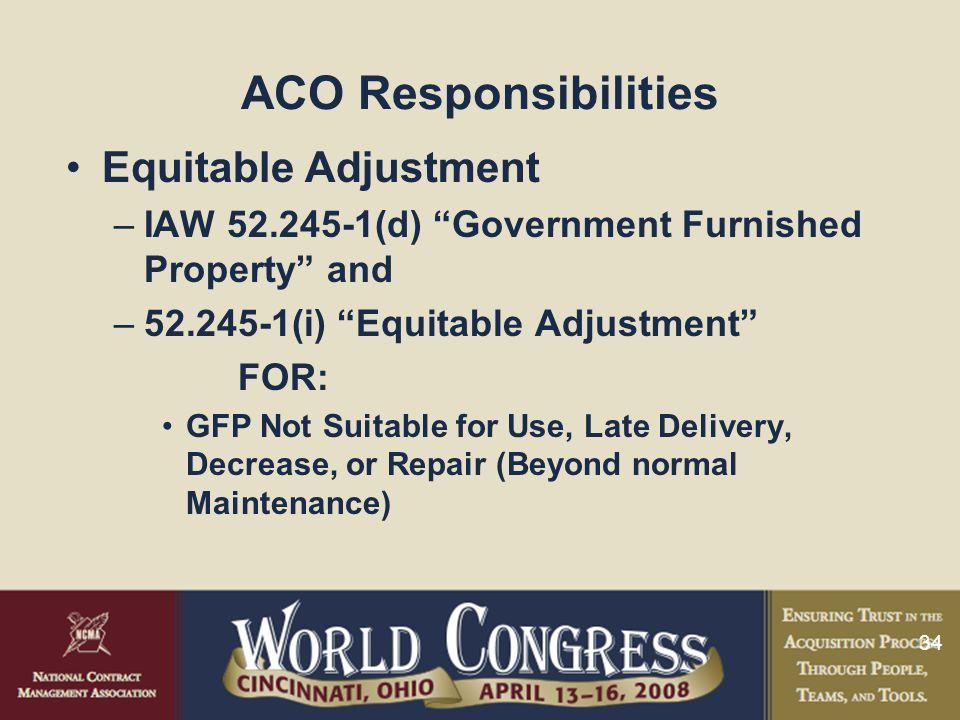ACO Responsibilities Equitable Adjustment