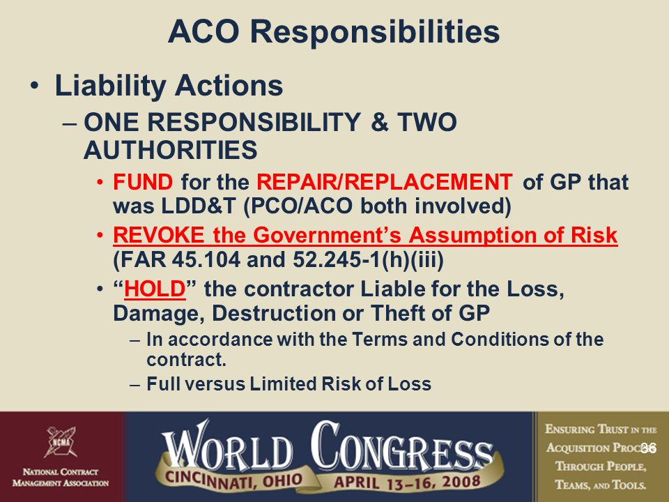 ACO Responsibilities Liability Actions