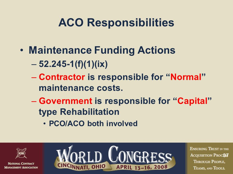 ACO Responsibilities Maintenance Funding Actions 52.245-1(f)(1)(ix)