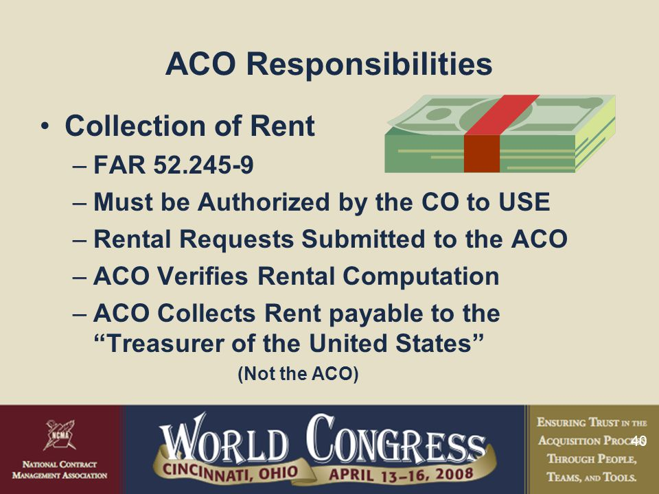 ACO Responsibilities Collection of Rent FAR 52.245-9