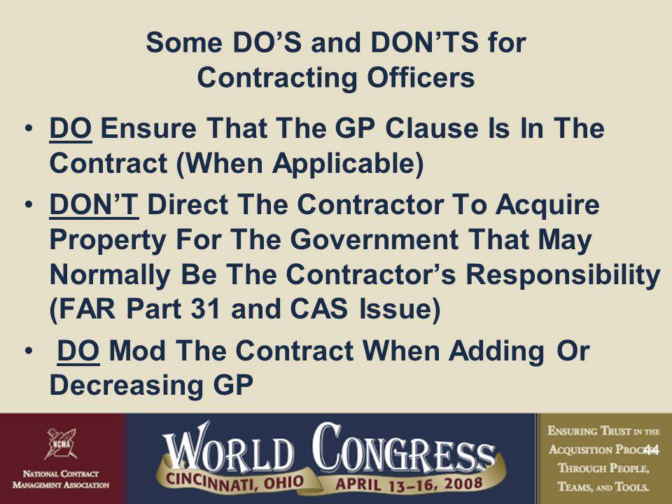 Some DO'S and DON'TS for Contracting Officers