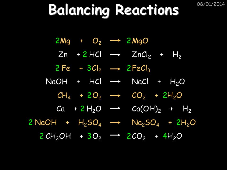 Balancing Reactions 2 2 3 2 3 Mg + O2 Zn + HCl Fe + Cl2 NaOH + HCl