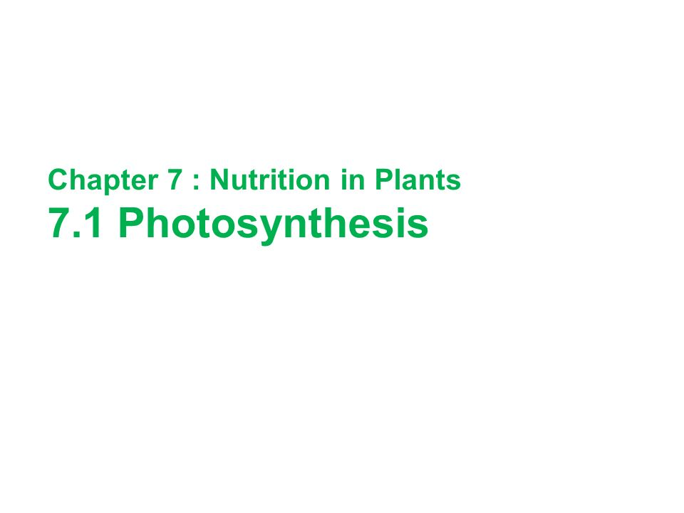Chapter 7 : Nutrition in Plants 7.1 Photosynthesis