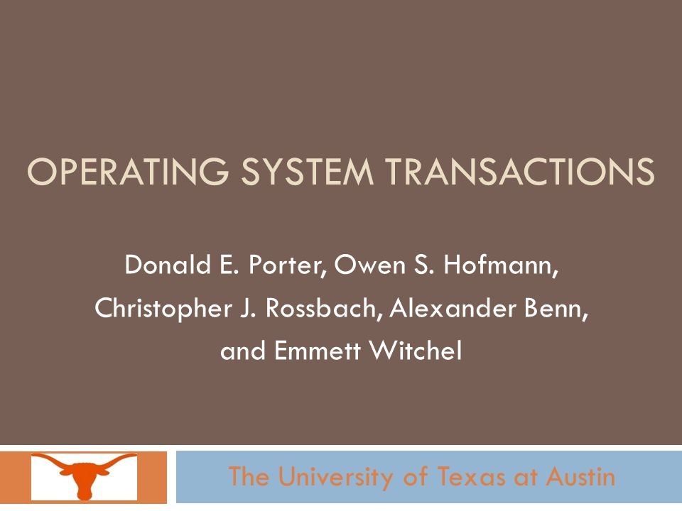 Operating System Transactions