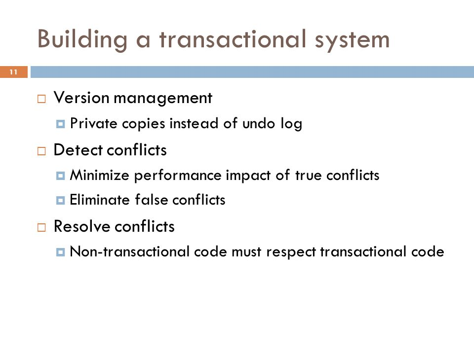 Building a transactional system