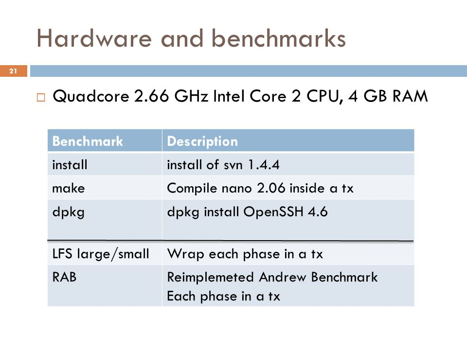 Hardware and benchmarks