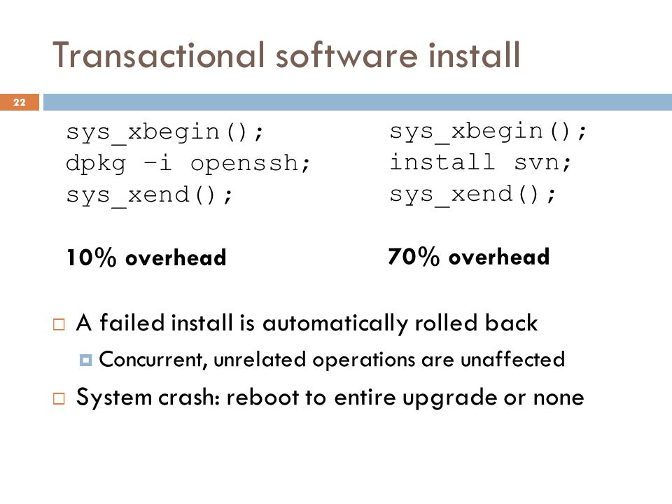 Transactional software install