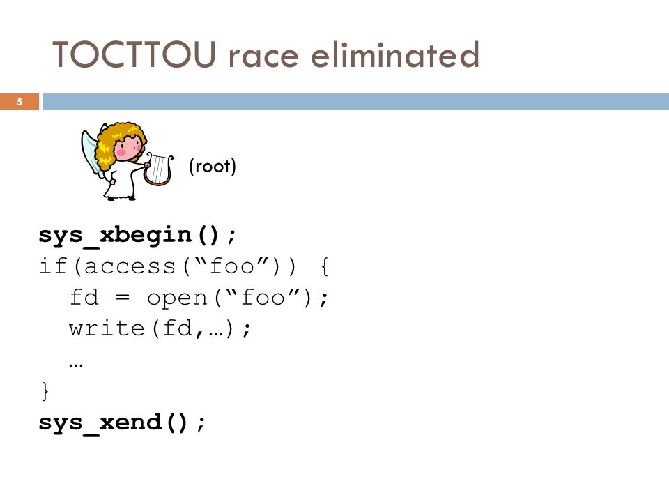 TOCTTOU race eliminated