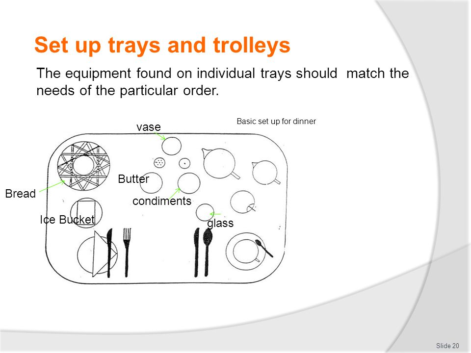 Set up trays and trolleys