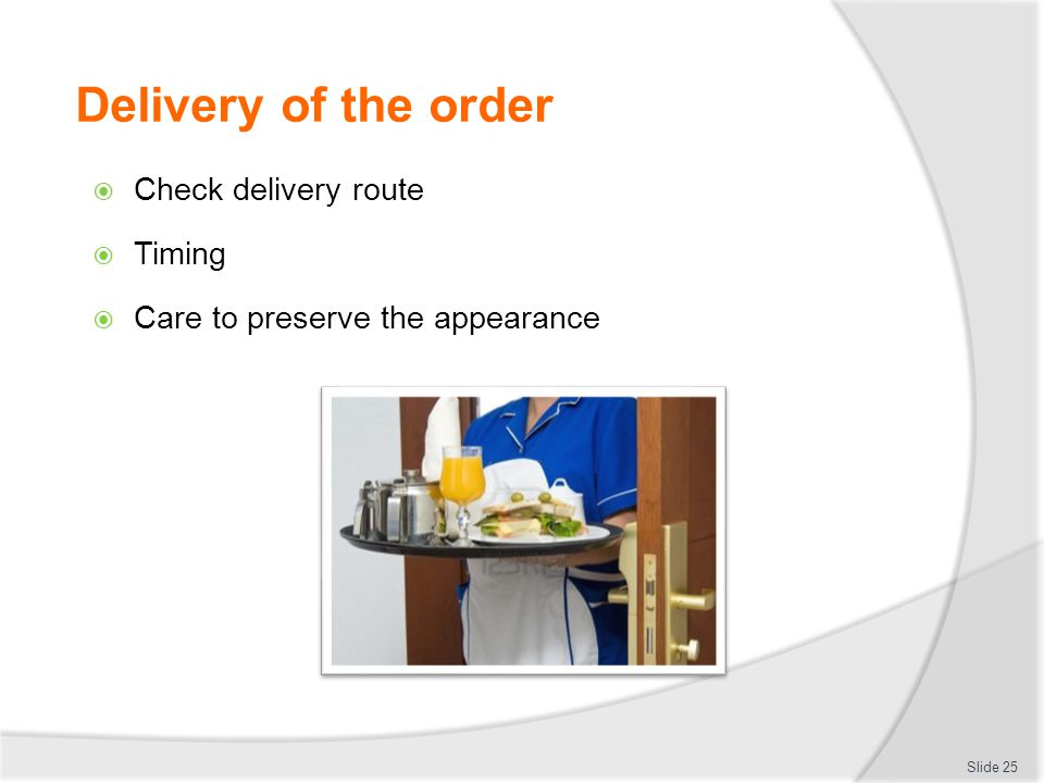 Delivery of the order Check delivery route Timing
