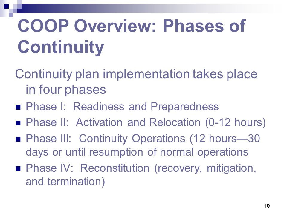 COOP Overview: Phases of Continuity