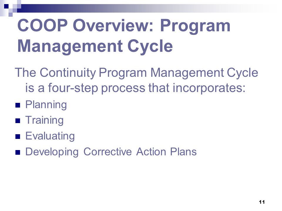 COOP Overview: Program Management Cycle