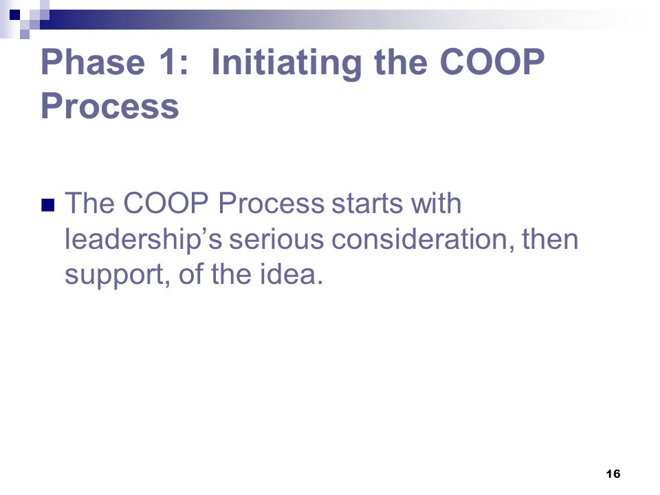 Phase 1: Initiating the COOP Process