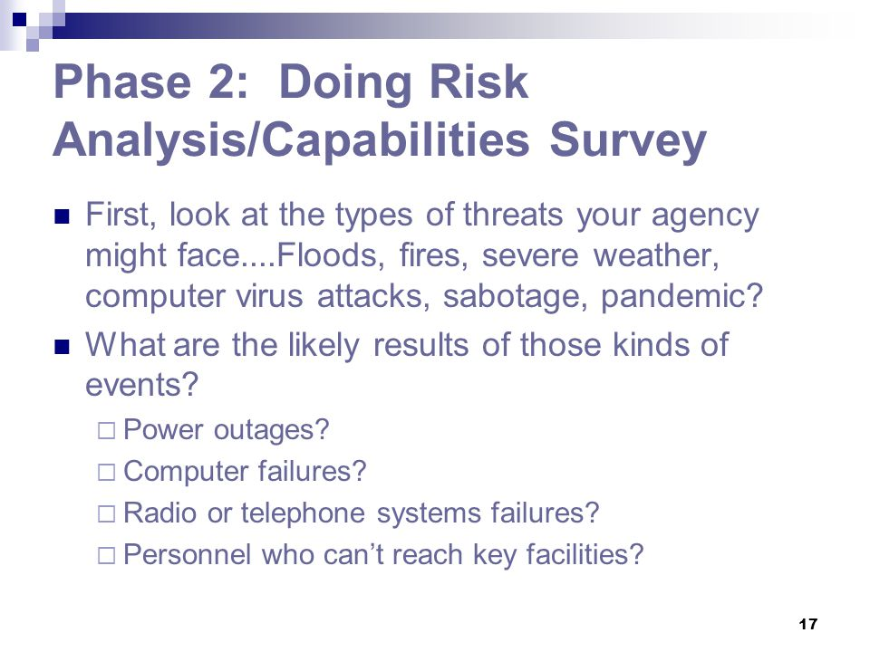 Phase 2: Doing Risk Analysis/Capabilities Survey