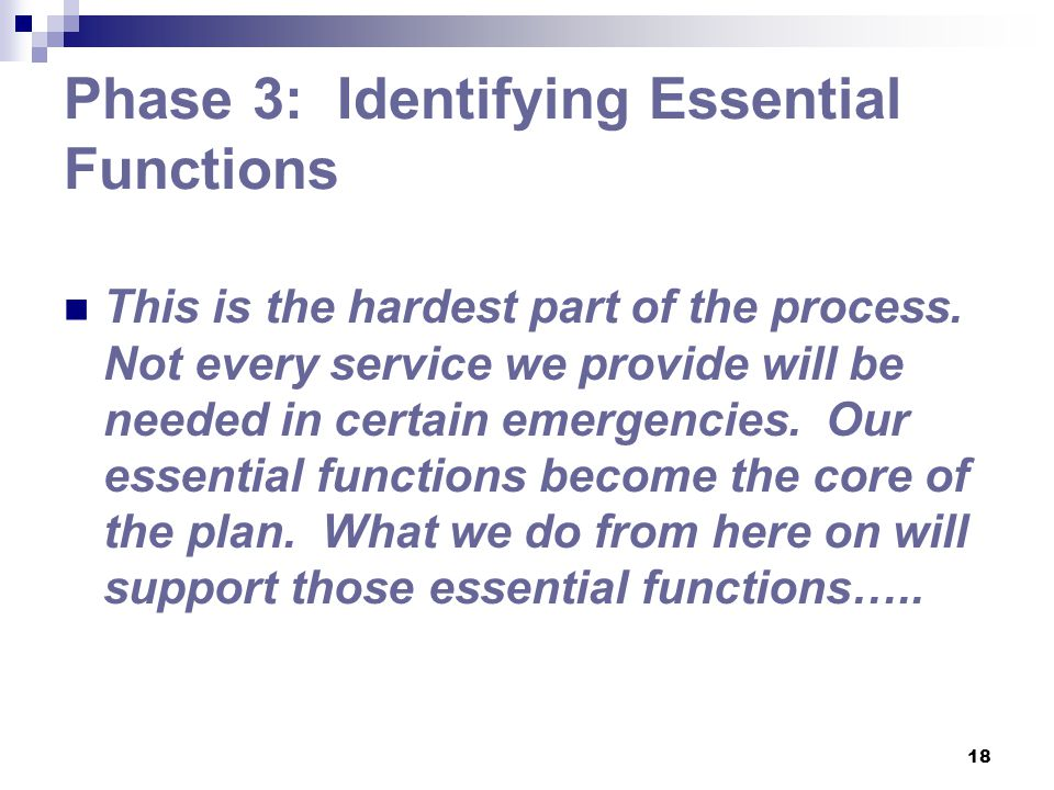 Phase 3: Identifying Essential Functions