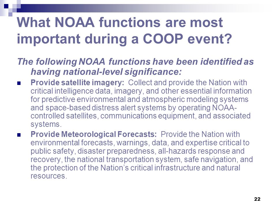 What NOAA functions are most important during a COOP event