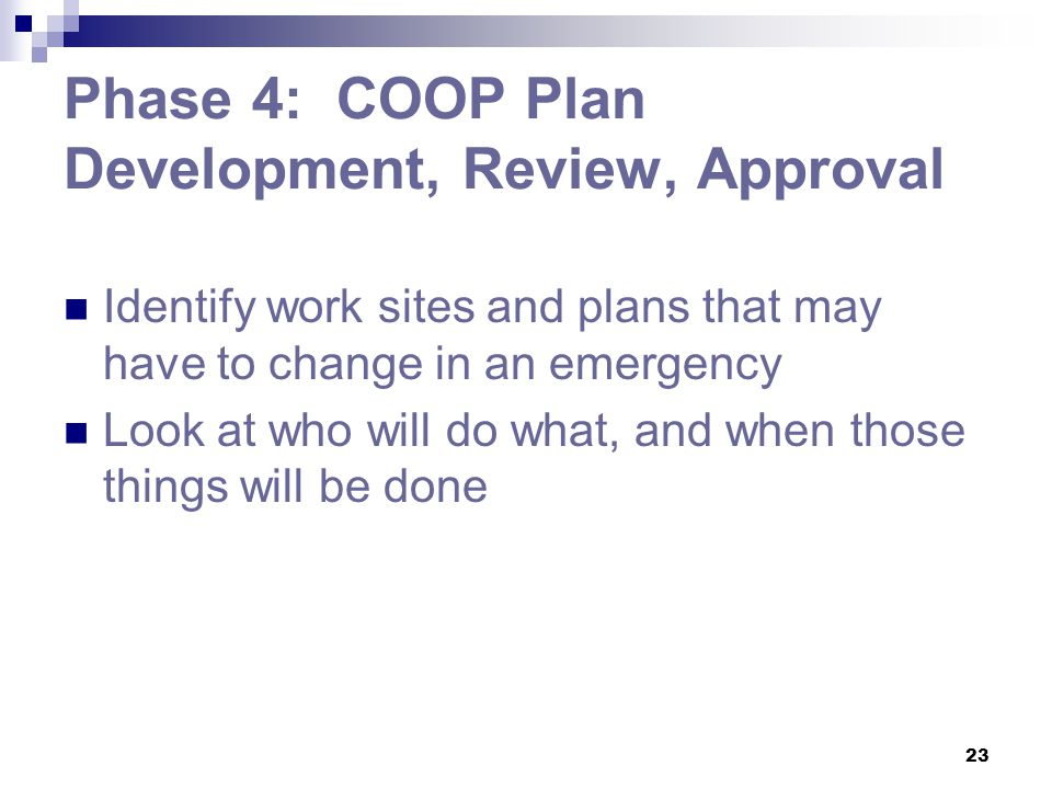 Phase 4: COOP Plan Development, Review, Approval
