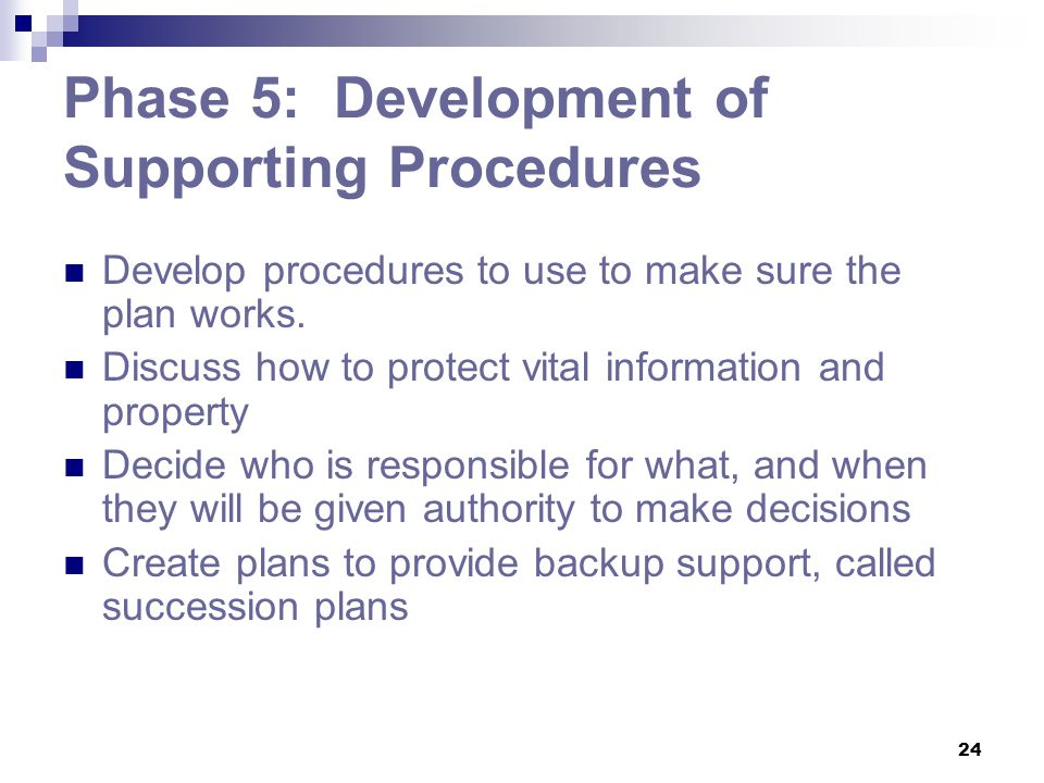 Phase 5: Development of Supporting Procedures