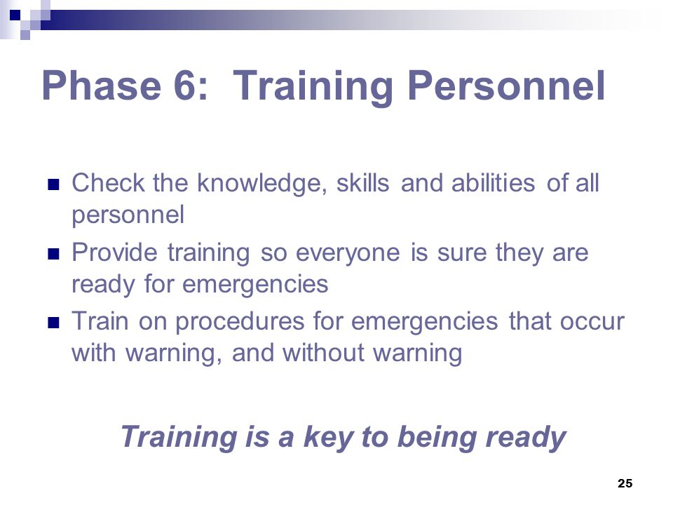 Phase 6: Training Personnel