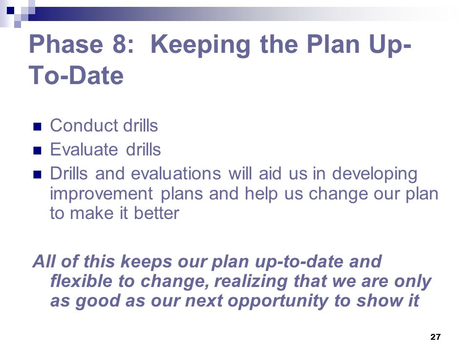 Phase 8: Keeping the Plan Up-To-Date
