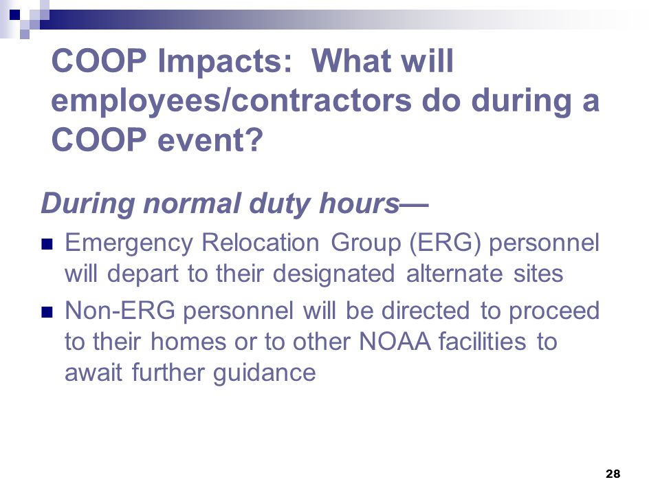 COOP Impacts: What will employees/contractors do during a COOP event